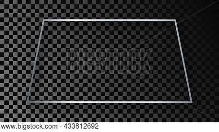 Silver Glowing Trapezoid Shape Frame With Shadow Isolated On Dark Transparent Background. Shiny Fram