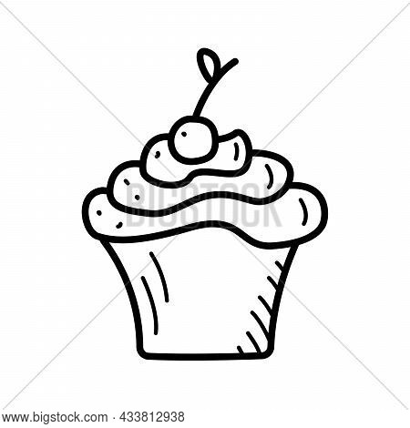 Vector Illustration Of A Sweet Dessert Cupcake With Milk Cream And Cherries.