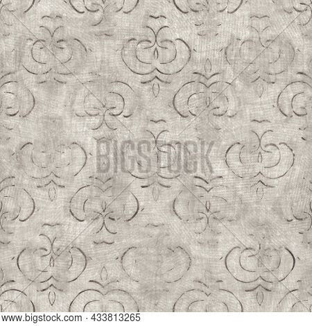 Seamless Tan Brown Grungy Tribal Neutral Rug Motif Surface Pattern Design For Print