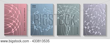 Cool Music Party Posters. Overlapping Curve Lines Plexus Textures. Stylish Magazine Vector Templates