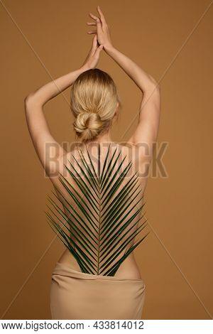 Woman Body Beauty Back Side. Slim Fit Model Rear View Silhouette With Palm Tree Leaf. Spa Salon Natu