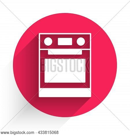 White Oven Icon Isolated With Long Shadow. Stove Gas Oven Sign. Red Circle Button. Vector