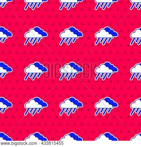 Blue Cloud With Rain Icon Isolated Seamless Pattern On Red Background. Rain Cloud Precipitation With