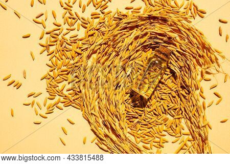 Rice Bran Oil In Bottle Glass With Ears Of Rice On Orange Background. Top View. Organic Herbal Meal