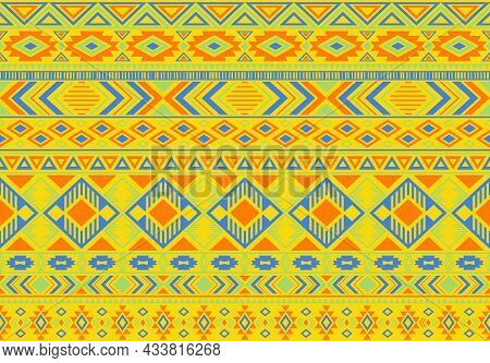 Boho Pattern Tribal Ethnic Motifs Geometric Seamless Vector Background. Graphic Ikat Tribal Motifs C