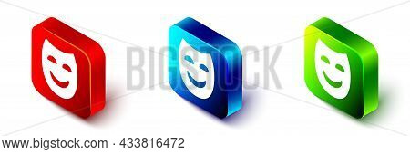 Isometric Comedy Theatrical Mask Icon Isolated On White Background. Red, Blue And Green Square Butto