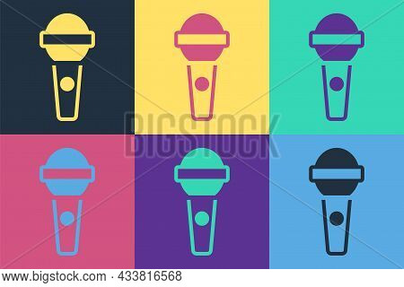 Pop Art Microphone Icon Isolated On Color Background. On Air Radio Mic Microphone. Speaker Sign. Vec