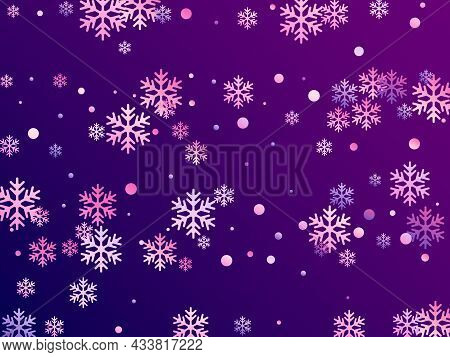 Crystal Snowflake And Circle Shapes Vector Graphics. Minimal Winter Snow Confetti Scatter Card Backg