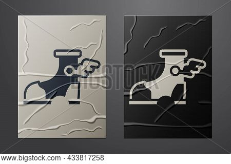 White Hermes Sandal Icon Isolated On Crumpled Paper Background. Ancient Greek God Hermes. Running Sh
