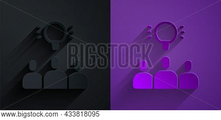 Paper Cut Project Team Base Icon Isolated On Black On Purple Background. Business Analysis And Plann