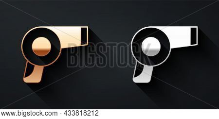 Gold And Silver Hair Dryer Icon Isolated On Black Background. Hairdryer Sign. Hair Drying Symbol. Bl