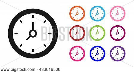 Black Clock Icon Isolated On White Background. Time Symbol. Set Icons Colorful. Vector
