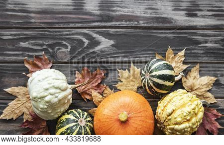 Autumn Composition,  Cozy Fall Season,  Pumpkins And Leaves On Wooden Background. Symbol Of Thanksgi