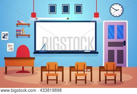Class School Nobody Classroom Whiteboard Table Chair Education Illustration