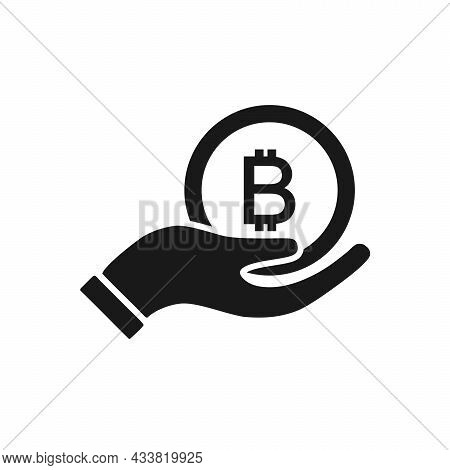 Bit Coin With Hand Icon Isolated On White Background. Bit Coin With Hand Vector Design Illustration.