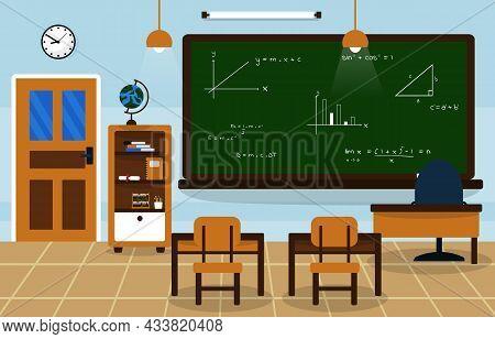 Math School Class Classroom Blackboard Table Chair Education Illustration