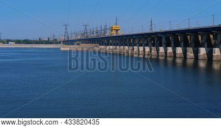 Volgograd. Russia - August 25, 2021 Hydroelectric Power Station On The Volga River In The Volgograd