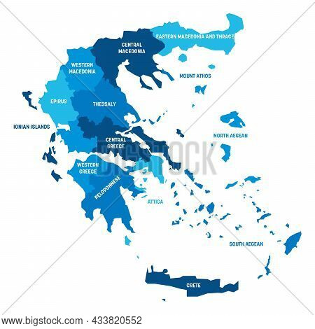 Blue Political Map Of Greece. Administrative Divisions - Decentralized Administrations. Simple Flat