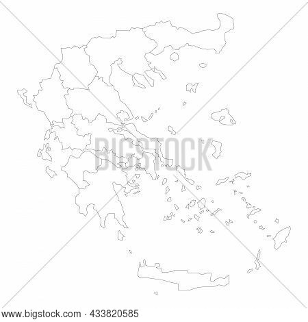 Political Map Of Greece. Administrative Divisions - Decentralized Administrations. Simple Flat Blank