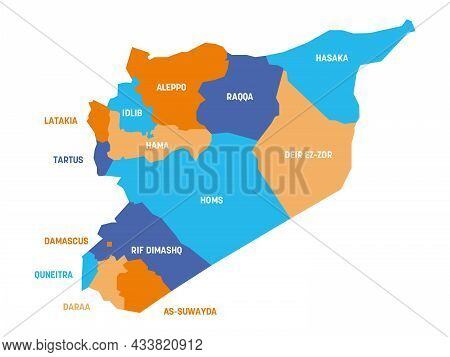Colorful Political Map Of Syria. Administrative Divisions - Governorates. Simple Flat Vector Map Wit
