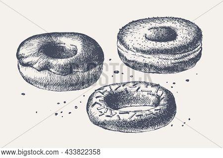 Glazed Donuts. Set Of Hand-drawn Sweets In Vintage Style. Cafe, Restaurant Menu Design Elements. Vin