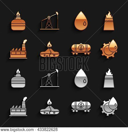 Set Alcohol Or Spirit Burner, Oil Rig With Fire, Industrial Factory Building, Railway Cistern, Drop,