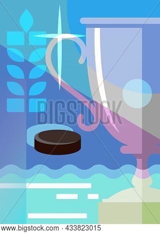 Hockey Poster With Sport Cup. Placard Design In Abstract Style.