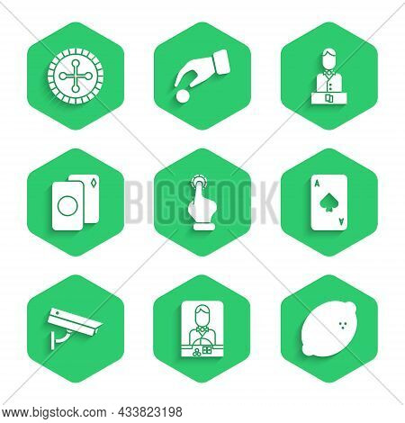 Set Hand Holding Casino Chips, Casino Dealer, Slot Machine With Lemon, Playing Card Spades, Security