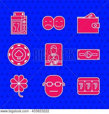 Set Casino Dealer, Poker Player, Slot Machine With Lucky Sevens, Stacks Paper Money Cash, Slot Clove