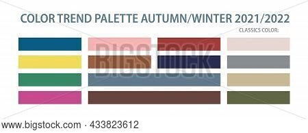 Color Trend Palette 2021, 2022 Autumn And Winter. Set Of Year Trend Color For Fashion, Home, Interio