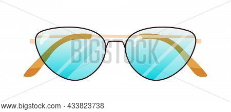 Fashion Sunglasses With Cat Eyes Lenses Shape And Thin Metal Rim. Stylish Pair Of Sun Glasses. Summe