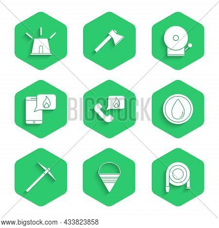 Set Telephone With Emergency Call 911, Fire Cone Bucket, Hose Reel, Water Drop, Pickaxe, Phone, Ring