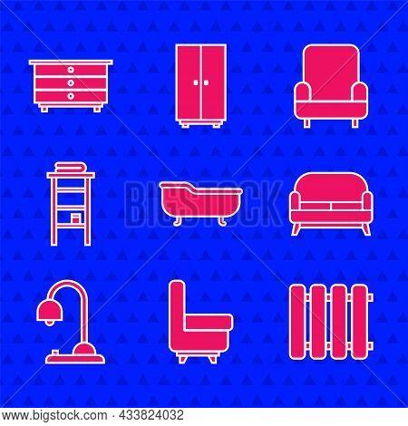 Set Bathtub, Armchair, Heating Radiator, Sofa, Table Lamp, Bathroom Rack With Shelves For Towels, An