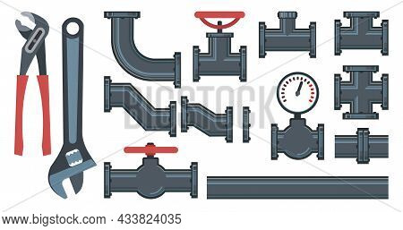 Set. Fittings, Taps, Bends, Fittings And Wrench.. Spare Parts For Pipelines, Sewerage, Gas Pipelines