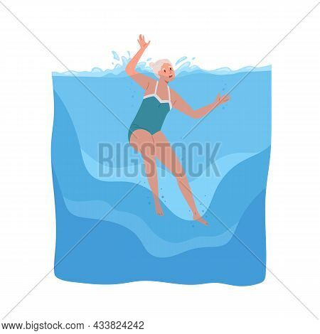 Senior Person Sinking In Sea. Old Woman In Danger Under Water, Choking And Calling For Help. Frighte