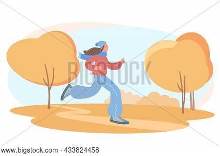 Beautiful Girl Is Engaged In Sports. Illustration Of A Girl Jogging In An Autumn Park. Concept Of A