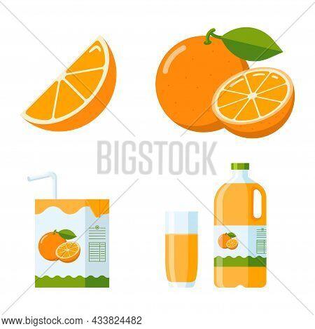 Fresh Orange Fruit And Juice Set. Flat Style Collection: Orange Slice And Whole Fruit, Orange Juice