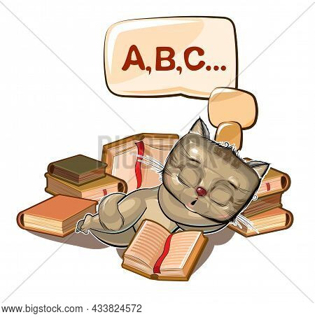 Baby Kitten Sleeps On Books. Dreaming Of A Dream With Letters. Abc. Childrens Illustration. Nice. Th