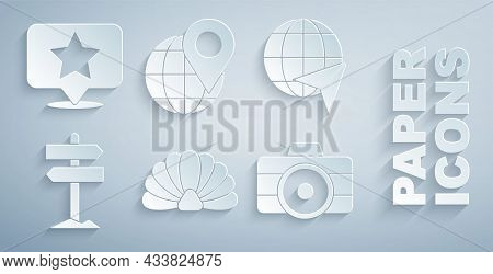 Set Scallop Sea Shell, Globe With Flying Plane, Road Traffic Signpost, Photo Camera, Location On The