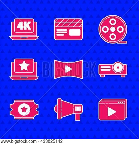 Set Online Play Video, Megaphone, Movie, Film, Media Projector, Cinema Ticket, Laptop With Star, Fil