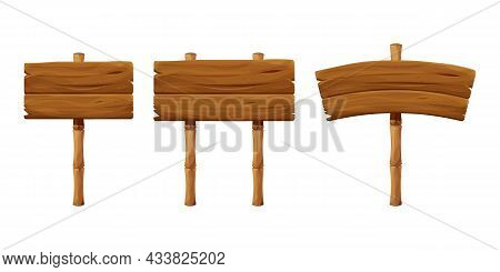 Set Wooden Signboard With Bamboo Stick In Cartoon Style, Empty Signpost Isolated On White Background