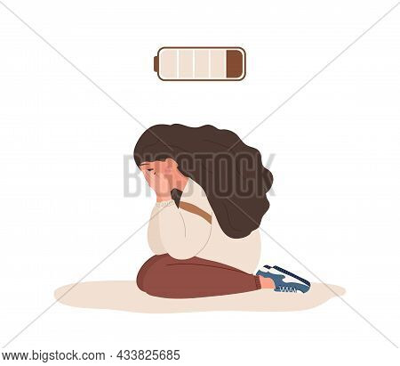 Emotional Burnout. Sad Teenager With Low Battery Sitting On Floor And Crying. Mental Health Problem.