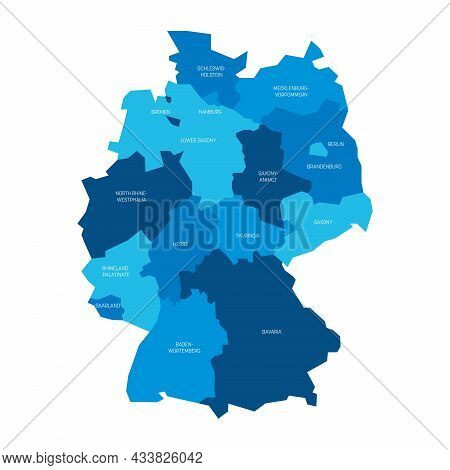 Blue Political Map Of Germany. Administrative Divisions - Federal States And 3 City-states - Berlin,