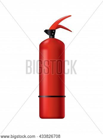 Red Fire Extinguisher. Isolated Portable Fire-fighting Unit. Firefighter Tool For Flame Fighting Att