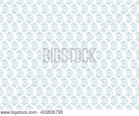 Abstract Geometric Pattern With Bitcoin. A Seamless Background. White And Blue Ornament. Graphic Mod