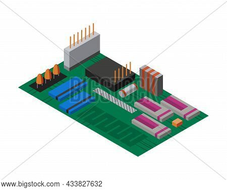 Isometric Circuit Board With Electronic Components. Computer Chip Technology Processor Circuit And C