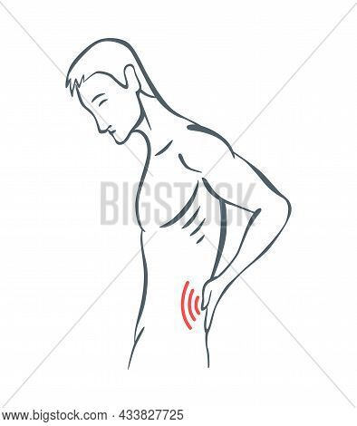 Body Part Pain. Man Feels Pain In Back Of Body Marked With Red Lines. Vector Foci Of Pain Or Trauma