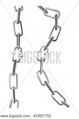 Two Broken Steel Chain Links. Symbol Of Security And Destruction. Freedom, Disruption Strong Metal S