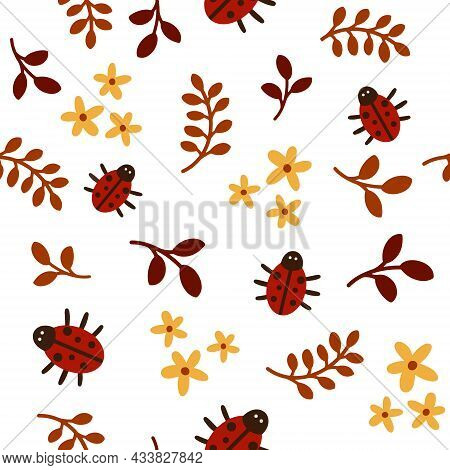 Vector Seamless Pattern With Leaves And Ladybug On A White Background. Autumn Theme