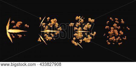 Gun Flashes Or Gunshot Animation. Cartoon Flash Effect Of Bullet Start. Shotgun Fire, Muzzle Flash A